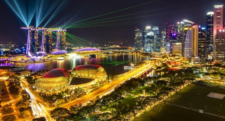 Water and Light Show at Marina Bay