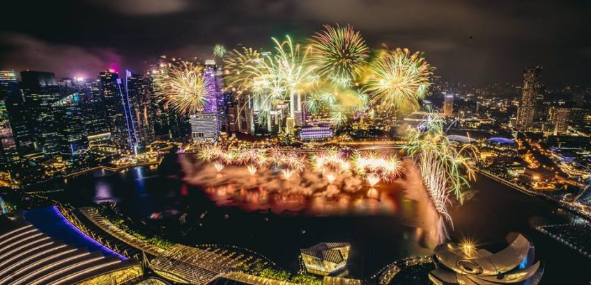 New year Fireworks on Marina Bay in Singapore on 31 December